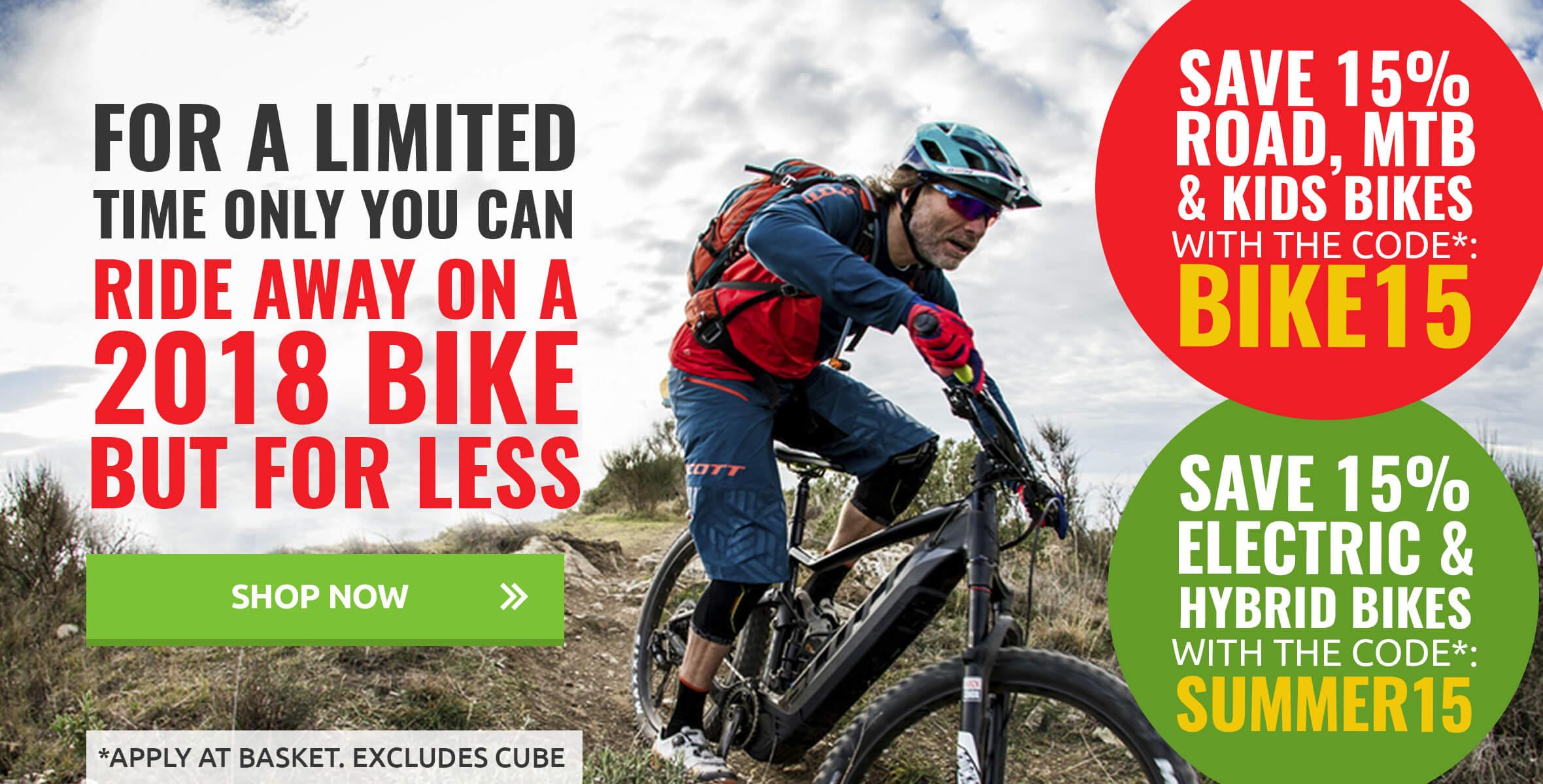 Save 15% on 2018 Bikes