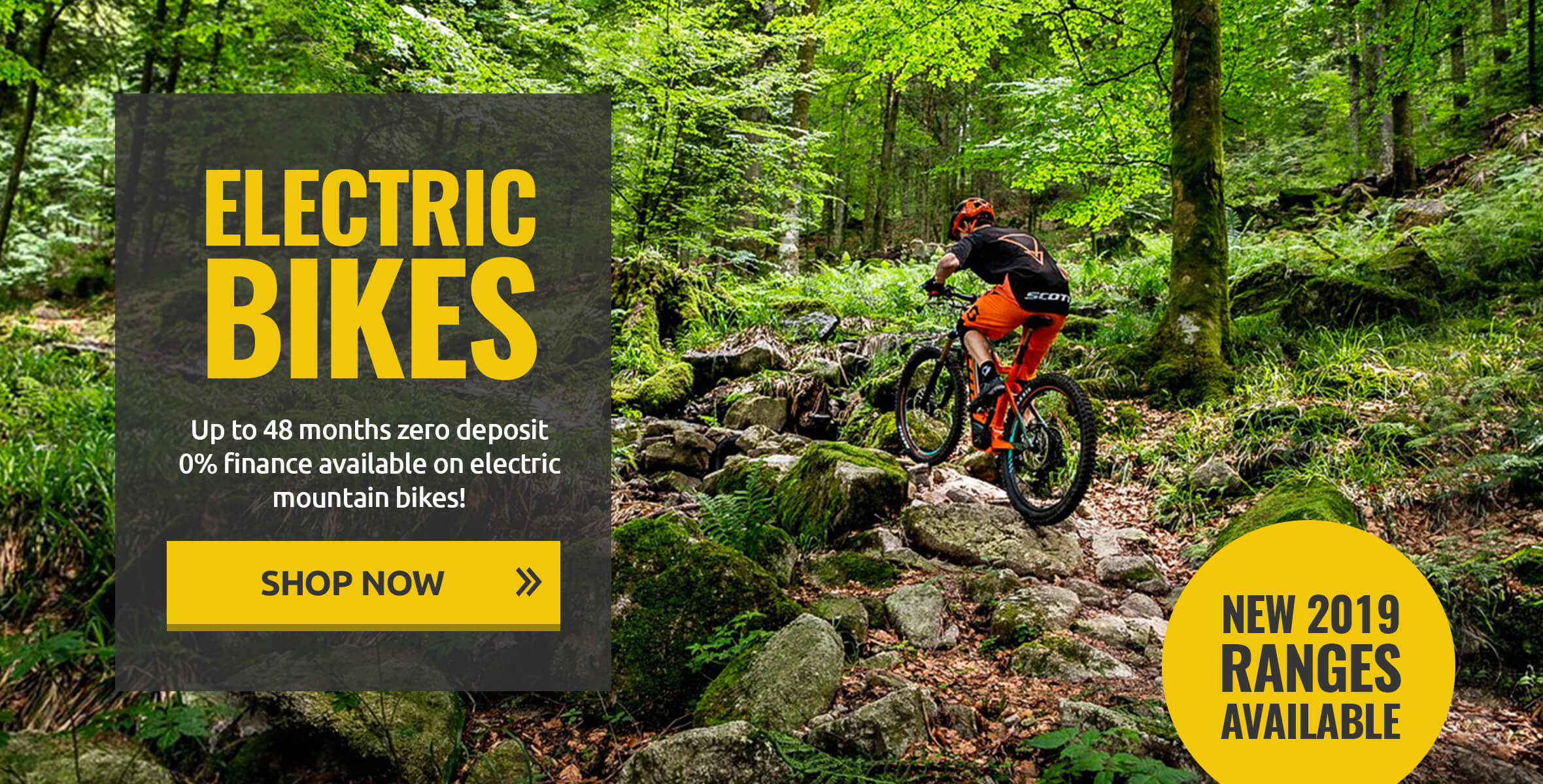 Up to 48 Months Zero Deposit 0% Finance Available on Electric Mountain Bikes