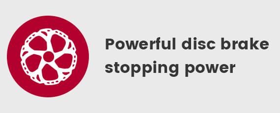 Powerful disc brake stopping power