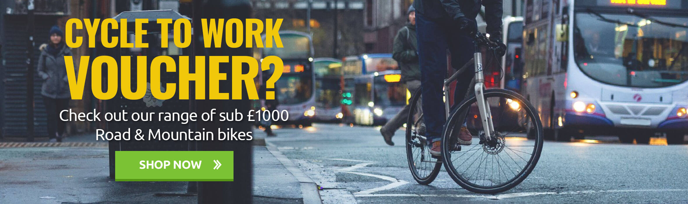 Cycle to work voucher? Check out our range of sub £1000 Road & Mountain bikes
