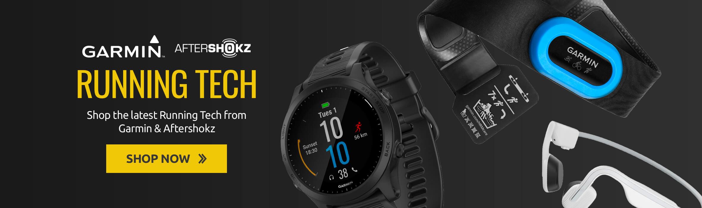 Shop the latest Running Tech from Garmin & Aftershokz